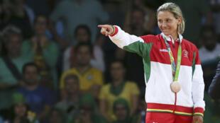 A judoca portuguesa Telma Monteiro conquistou o bronze na categoria de -57kg dos Jogos Olímpicos Rio2016.