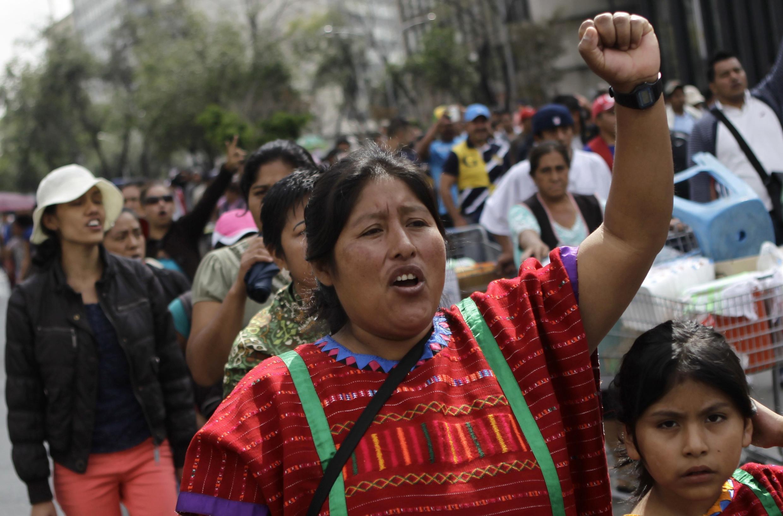 Manifestación de docentes en México D.F., este 28 de agosto de 2013.
