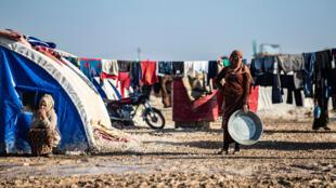 Khu tạm cư Washukanni ở phía đông bắc Syria, được hình thành từ khi Thổ Nhĩ Kỳ oanh kích Syria. Ảnh chụp ngày 16/12/2019.