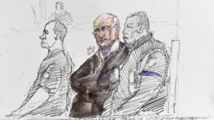 Французскому хирургу предъявили обвинения в сексуальном насилии над 312 пациентами. На рисунке в центре Жоэль Ле Скуарнек на суде, март 2020 г.