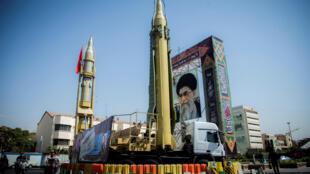 Quảng trường Baharestan tại thủ đô Tehran, phô trương sức mạnh hạt nhân. Ảnh chụp tháng 9/2017.