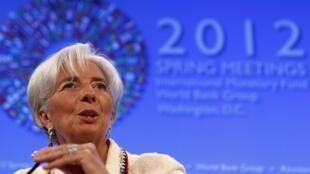A diretora-gerente do FMI, Christine Lagarde, durante conferência de imprensa me Washington nesta quinta-feira.