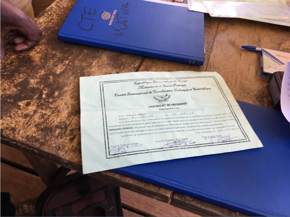 An official document certifying that a person is Ebola free, in Butembo, DRC. The name has been erased for privacy reasons.
