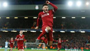 L'Anglais Alex Oxlade-Chamberlain, auteur du 2e but de Liverpool contre Manchester City le 4 avril 2018 en Ligue des champions.