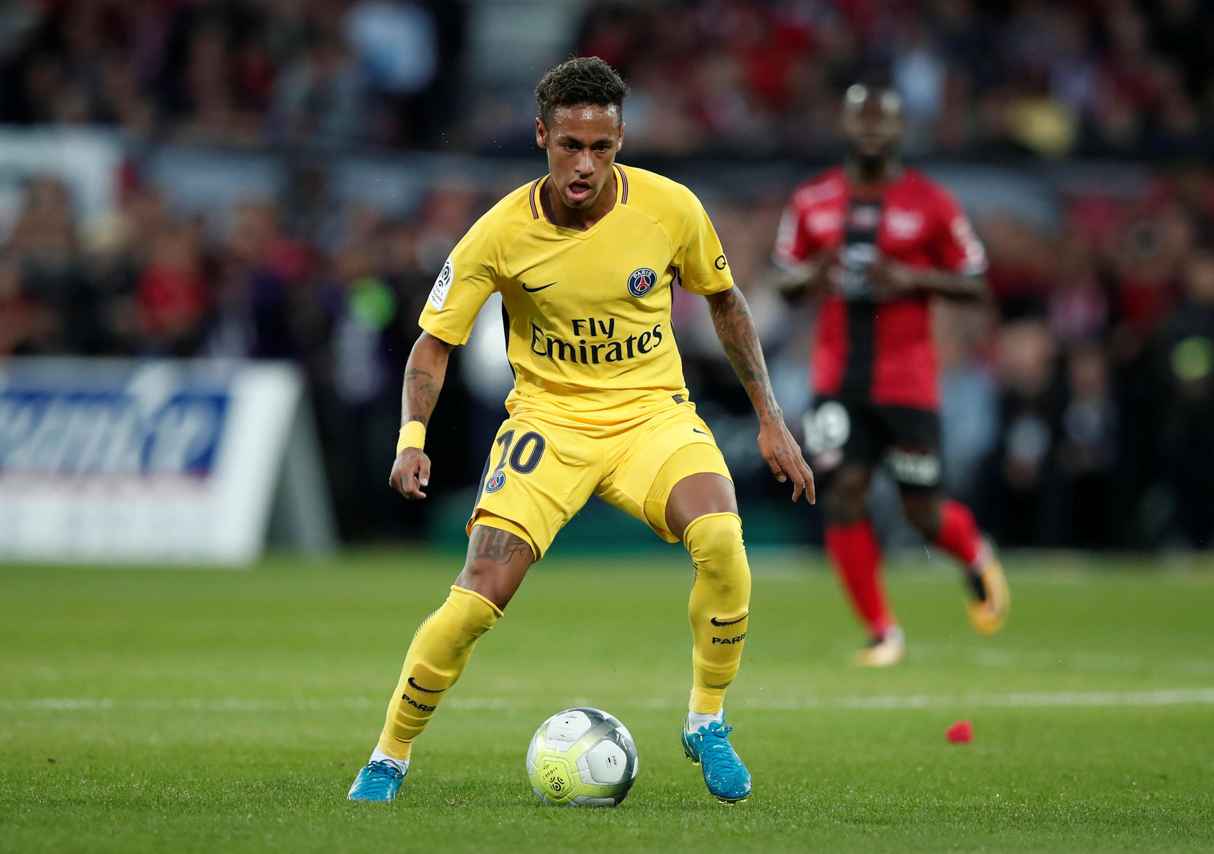 REUTERS/Benoit Tessier | PSG's new signing Neymar in action against Guincamp.