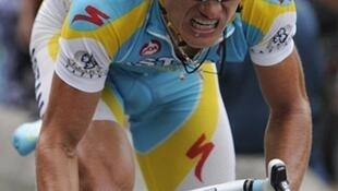 Le coureur kazakh Alexandre Vinokourov (Astana).