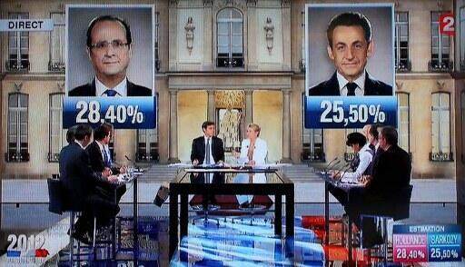 Trường quay truyền France 2  lúc 20 h ngày 22/4/2012 công bố kết quả sơ bộ vòng 1 với thắng lợi của ông  François Hollande (hình trái)..