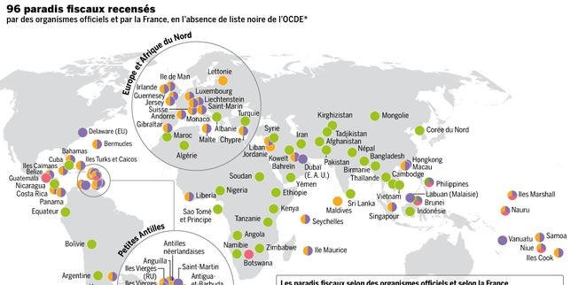 Mapa de los paraísos fiscales.