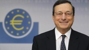 Mario Draghi, presidente  do Banco Central europeu, durante coletiva de imprensa desta quinta-feira, em Frankfurt.