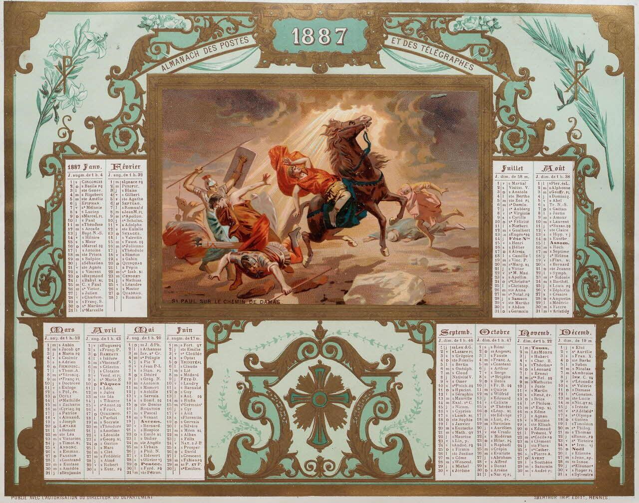 """Lịch của ngành Bưu chính Viễn thông, năm 1887, """"Thánh Paul trên đường đến Damas"""", in tại nhà in  Oberthür."""