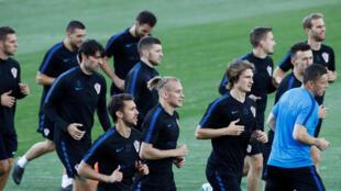 Les Croates à l'entraînement, le 9 juillet 2018.