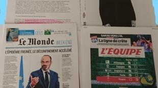Páginas de diários franceses 29 05 2020