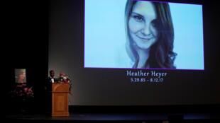 不幸遭到新纳粹分子杀害 32岁的希瑟·海耶告别仪式资料图片