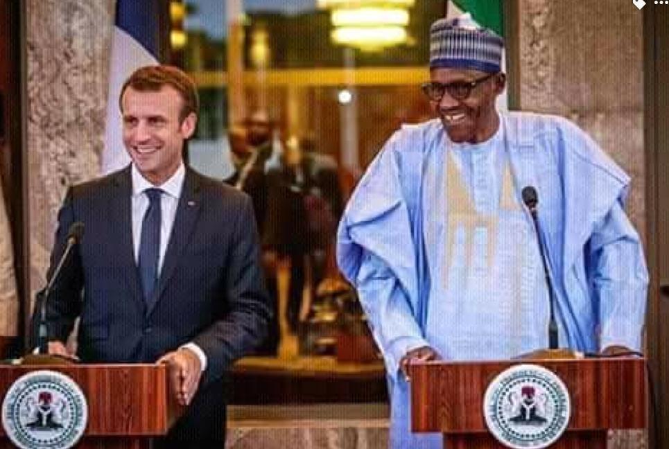 Shugaban Najeriya Muhammadu Buhari da takwaransa na Faransa Emmanuel Macron.