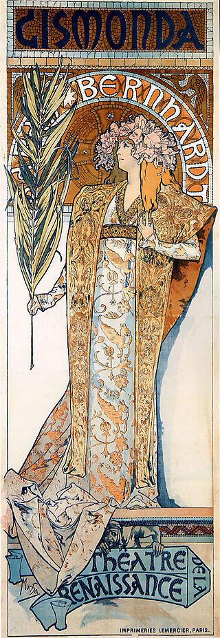 پوستر تبلیغاتی برای تئاتر ژیسموندا با بازی سارا برنارد در سال 1894 اثر آلفونس موخا