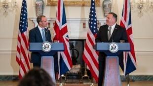 英國外交大臣拉布與美國國務卿蓬佩奧資料圖片