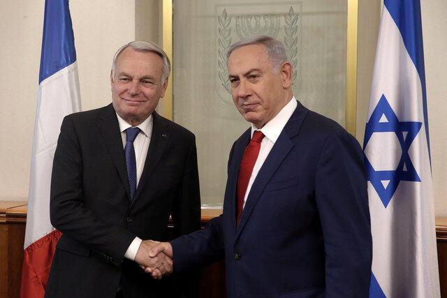 以色列总理内塔尼亚胡与法国外长埃罗2016年5月15日 耶路撒冷