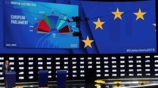 Primeras proyecciones del mapa del nuevo Parlamento europeo. Bruselas, Bélgica, 26 de mayo de 2019.