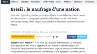 Editorial do jornal francês Le Monde em 8 de setembro de 2018.