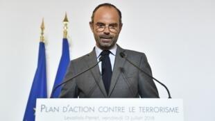 Edouard Philippe, Premier ministre français, lors de la présentation d'un nouveau plan de lutte contre le terrorisme, à Levallois-Perret, vendredi 13 juillet 2018.