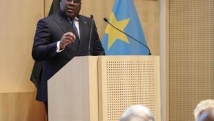 Le président de la RDC Félix Tshisekedi devant la Fédération des Entreprises à Bruxelles, le 17 septembre 2019.