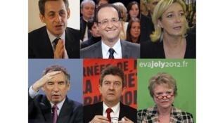Основные кандидаты президентских выборов во Франции-2012: Николя Саркози, Франсуа Олланд, Марин Ле Пен, Франсуа Байру, Жан-Люк Меланшон, Эва Жоли