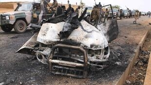 A Mujao pick-up truck destroyed by the French army in Mali