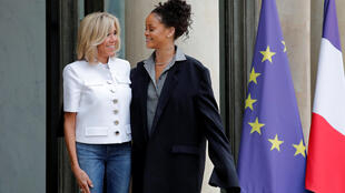 Rihanna with French President Emmanuel Macron's wife Brigitte at the Elysée