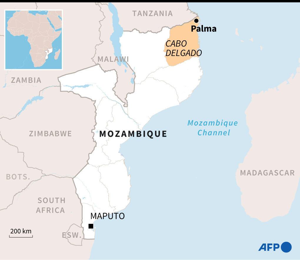Mapa de Mozambique, donde está situada la ciudad de Palma en la provincia de Cabo Delgado