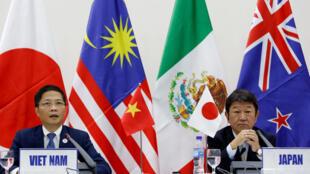 日本經濟大臣與越南貿易部長在APEC期間的一次新聞發布會上 2017年11月11日