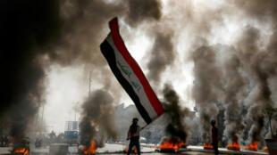 صحنۀ تظاهرات مخالفان در شهر نجف