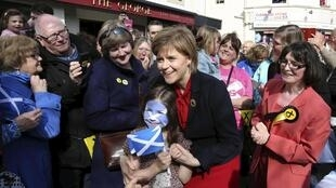 Leader of the Scottish National Party Nicola Sturgeon campaigns in Largs, Scotland, 4 May 2015.