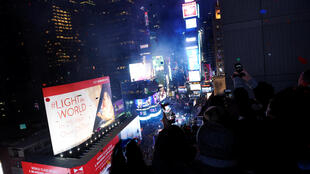 Une vue de Time Square à New York lors des célébrations pour la nouvelle année 2017.
