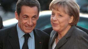 le Président français Nicolas Sarkozy et la chancelière allemande Angela Merkel.