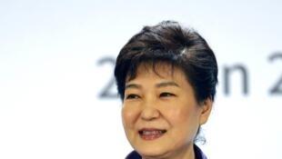 La présidente sud-coréenne, Park Geun-hye au forum économique France-Corée à Paris, le 2 juin 2016.
