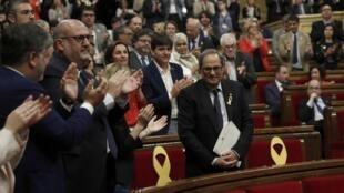 西班牙加泰羅尼亞自治區獨立派政壇新人托拉資料圖片