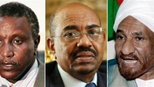 Old faces in Sudan: Yasser Arman, former rebel; Al Bechir, former president; Sadiq al-Mahdi, former prime minister.