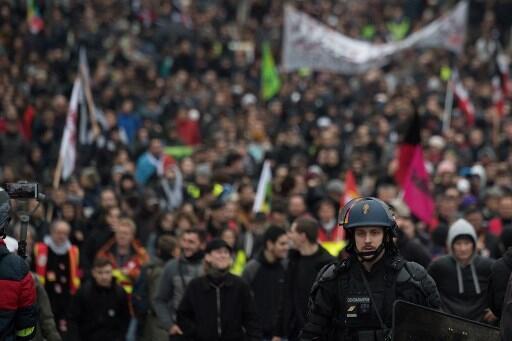 Manifestação contra a reforma das pensões. Paris, 17 de Dezembro de 2019.