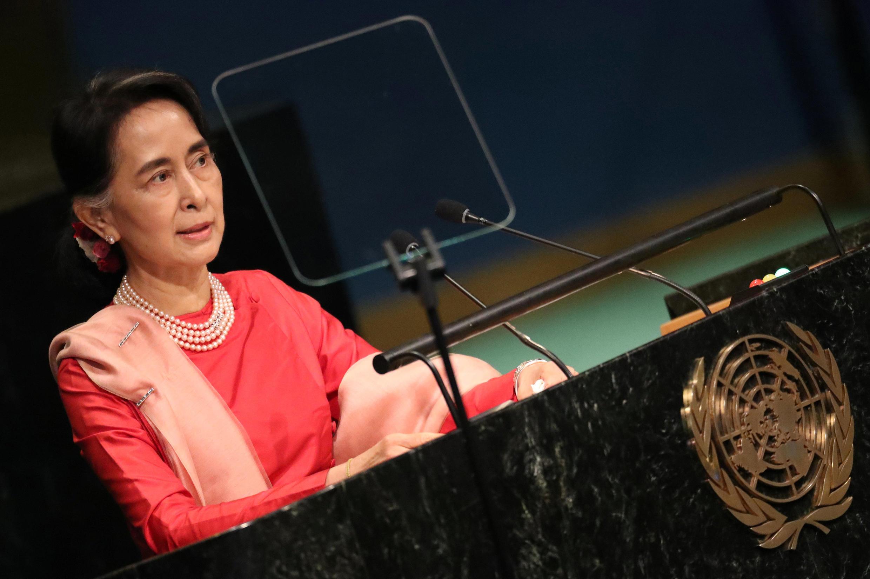 Aung San Suu Kyi na Assembleia Geral da ONU, no ano passado.