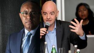 Ahmad (G), le nouveau président  élu de la Confédération africaine de football (CAF) et  Gianni Infantino (D), président de la FIFA.