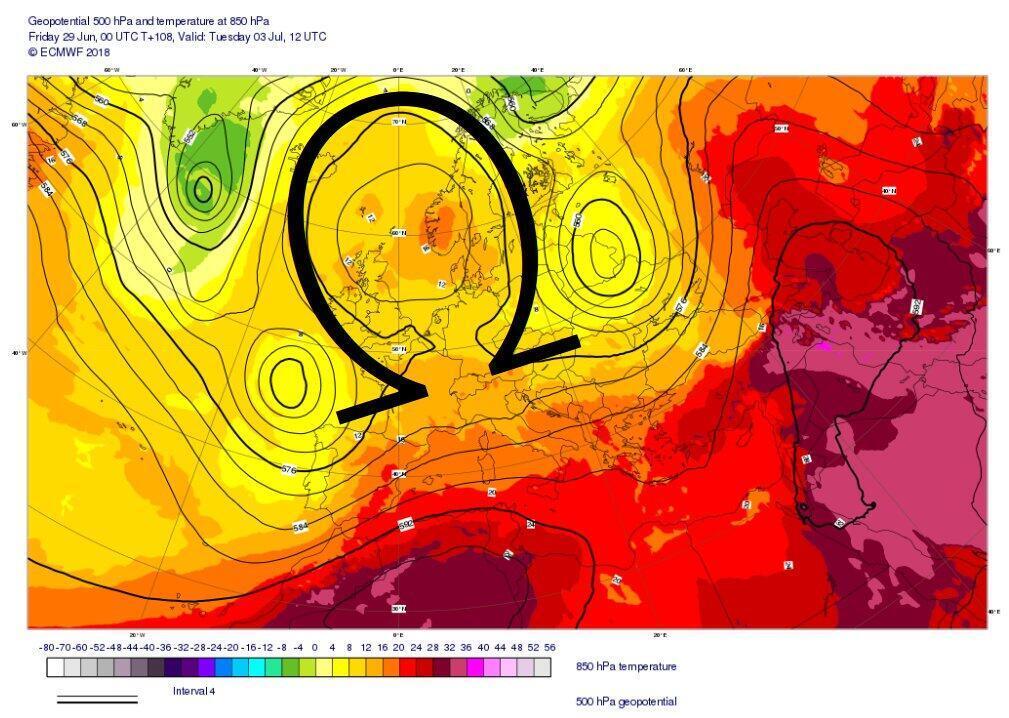 Bloqueo atmosférico tipo omega. El aire caliente se encuentra atrapado en esa forma de letra del abecedario griego.