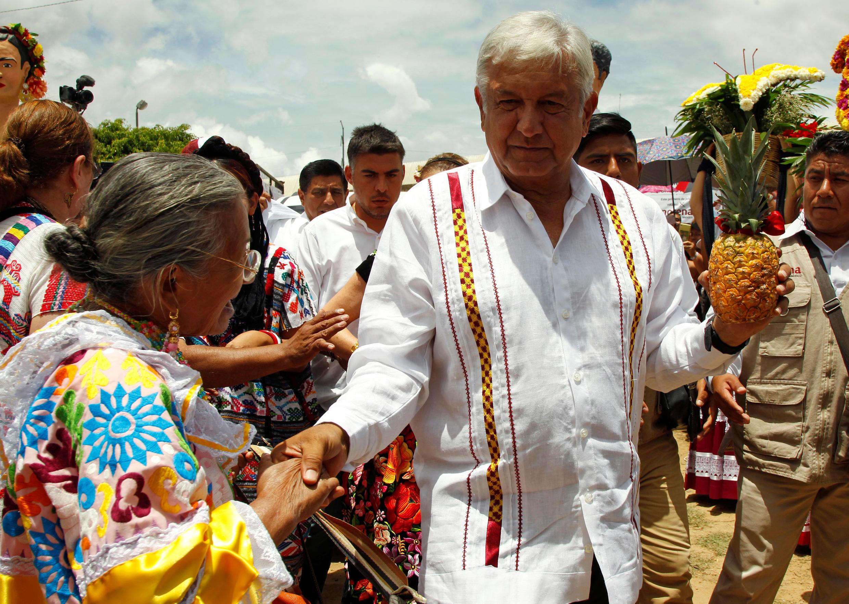 Andres Manuel Lopez Obrador en pleine campagne électorale à Mexico, le 16 juin 2018.
