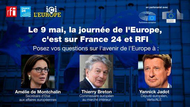 Amélie de Montchalin, Thierry Breton et Yannick Jadot répondent par visioconférence aux questions des internautes, à l'occasion de la journée de l'Europe.