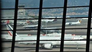 An Air France Airbus at Nicve airport in the south of France