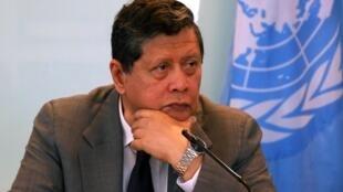 Trưởng đoàn điều tra về tMiến Điện, ông Marzuki Darusman, họp báo tại tại văn phòng Liên Hiệp Quốc ở Jakarta, Indonesia, ngày 05/08/2019.