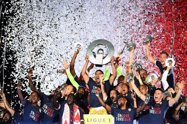 Festejos dos jogadores do Mónaco.