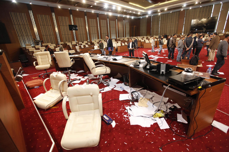 Le Congrès général national, plus haute autorité politique de Libye, après son saccage le 3 mars dernier.