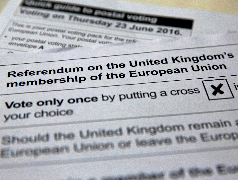 Le bulletin de vote qui sera glissé dans l'urne par les électeurs : oui ou non au maintien au sein de l'UE (photo d'illustration) le 23 juin prochain.
