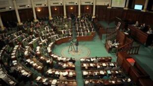 Assemblée nationale tunisienne, une vue de l'hémicycle.
