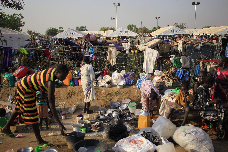 Watu walioyahama makazi yao katika mji wa Juba, Sudan Kusini.